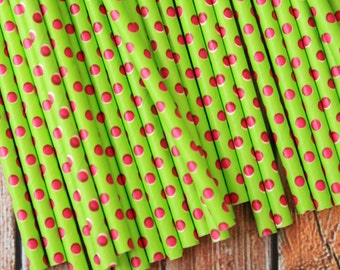 LIME Green & Hot PINK Swiss Polka Dots paper straws