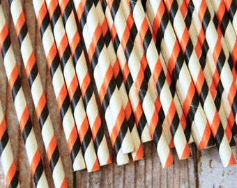 ORANGE & BLACK Double Stripes paper straws