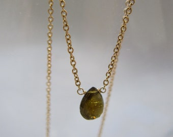 simple tourmaline drop necklace