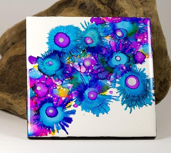 Ceramic Tile Original Alcohol Ink Painting Coaster Bright