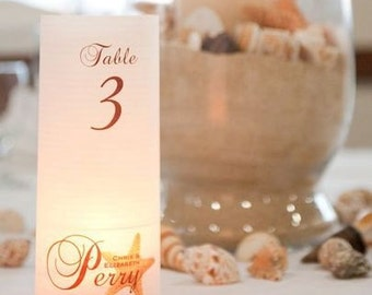 """20, 22, 24, 26, 28, or 30 """"Starfish"""" Table number Luminaries for centerpieces, table numbers at wedding, events, balls"""