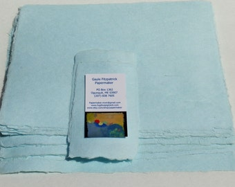 Five sheets of 8.5 x 11 inch handmade abaca kozo paper, dyed seafoam