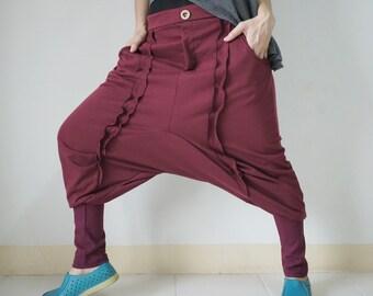 Unisex Ninja Harem Funky Stretch Cotton Mix Polyester Dark Red Pants With 2 Pockets