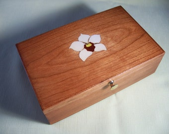 Orchid Inlay Jewelry Box Keepsake Box, Cherry, Custom Order