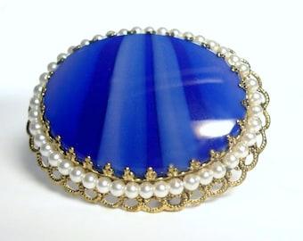 Vintage W Germany Colbalt Blue Art Glass Brooch