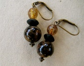 Dendritic Opal Earrings Moss Opal Black Brown Patterns with Black Onyx Gorgeous Fall Colors on Antiqued Brass Hooks - CatchingWaves