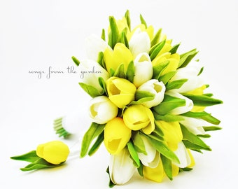 Real Touch Yellow White Tulips Bridal Bouquet Groom's Boutonniere - Tulip Wedding Flower Package