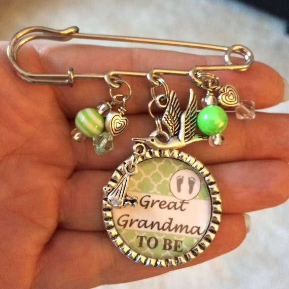 Baby Shower Gifts For Grandma ~ Great grandma to be pin personalized gift baby by