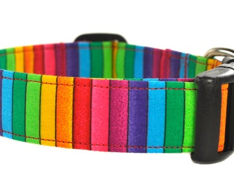 Rainbow Stripe - Multicolored Dog Collar
