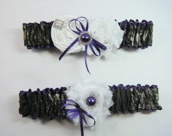 Mossy Oak purple CAMOUFLAGE wedding garter set Camo garters shabby rose