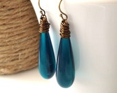 Teal Teardrop Earrings, Vintage Bead, Blue Green Earrings, Under 20, Antique Brass, Wire Wrapped, Drop Earrings, Dangle Earrings