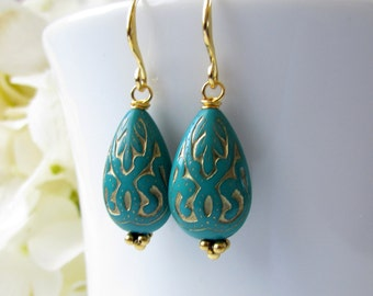 Turquoise Earrings, Gold Earrings, Acrylic Vintage Style, Dangle, Bali Style, Teardrop Earrings, Blue Green, Bridesmaids Earrings