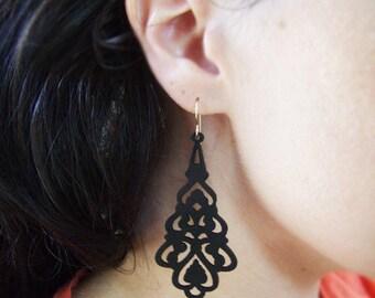 Wood Earrings, Black Wood Earrings, Ornate Wood Earrings, Sculpted Earrings, Asian Style, Resort Wear, Meditation Jewelry, Inexpensive Gifts