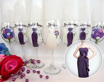 Hand Painted Bridesmaid Wine Glasses - Bridal Party Wine Glasses - Bridal Party Glassware for Mother of the Bride & Groom
