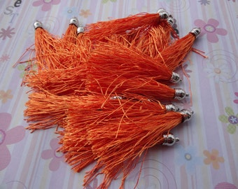 20pcs orange red colors Silk/Satin Leather Tassels charms pendant, Ideal Accessories for DIY projects, Suede leather tassel