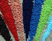 9/0 Red, Blue & Green seed bead mix, Czech Rocailles Seed Beads, 2.7mm (70g) NEW