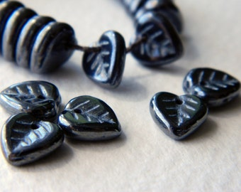 Czech Glass Heart Leaf Beads, Glass leaf beads, Opaque Jet, Lustered, 9mm (30pcs)