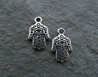 Pewter Hamsa Hand Charm, Metal Hand Charm, Antique Silver Plated Pewter, USA made  (2pcs) NEW