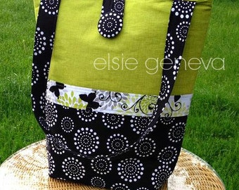 Choose Any Fabric Online or Black & Green Butterfly Large Tote with Back Zipper Pocket Knitting Crochet Project Purse