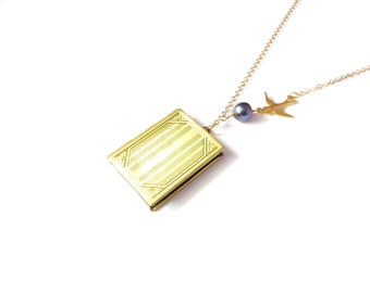 Rectangle Book Locket In Antique Gold With Flying Bird And Freshwater Pearl