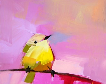 Warbler no. 28 Bird Art Print by Angela Moulton 8 x 8 inches prattcreekart