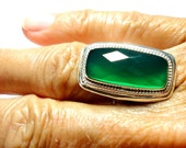 Green Onyx Ring Green Cocktail Ring Green Statement Ring in Solid Sterling Silver Size 5