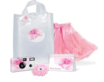 Baby Shower Gift Bag full of goodies -- camera, photo album, pettiskirt, waffle headband w/flower, gift tag with ribbon -- in PINK