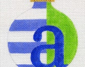 Striped Alphabet Blue and Green All letters available A3A - Jody Designs