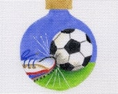 Soccer Ball and Sneaker Needlepoint Ornament - Jody Designs B132