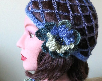 FREE US SHIPPING - Light Purple Lavender Lilac Violet Color Crocheted Mesh Skullcap Flapper Hat with Green Yellow Crochet Flower