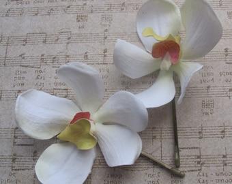 White  Vanda Orchids SET OF 2 bobby pin flowers-hair clips - Weddings
