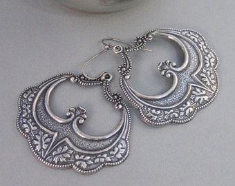 Gypsy Girl,Earrings,Silver Earrings,Antique,Vintage Style,Wedding,Antique Earrings,Boho,Hamsa,Boho Earring,Hoop Earring.valleygirldesign