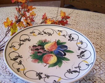 Vintage Cake Stand Italy, Pedestal Cake Plate, Hand Painted, Fruit & Flowers,Tuscan, Signed and Numbered