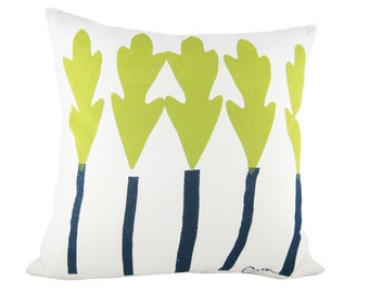 Leaf Trees 20in Pillow in Vintage Green + Navy