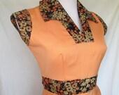 1970s Cap-Sleeve Dress, Melon, Calico, Contrasting Waistband, Collar, Small/Medium