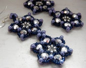 Beaded Earrings - Midnight Blue and Silver Snowflakes