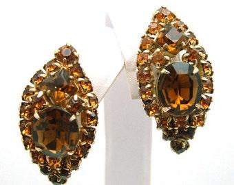 Vintage Rhinestone Earrings Topaz Juliana Style Clip On