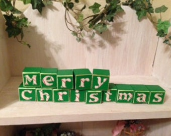 Merry Christmas candy cane decoration blocks for desk, table, mantel home or office decor