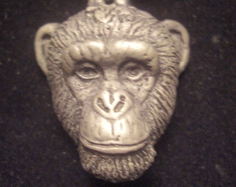 Chimpanzee Pendant Necklace Large  cold cast pewter