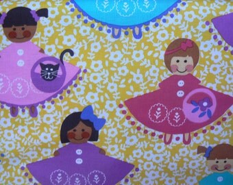 Michael Miller Dollies (Yellow) Cotton Fabric - 1 Yard