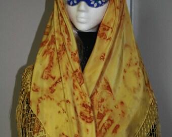 Rust Dyed Silk Shawl w/ fringe
