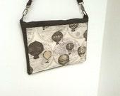 Balloon laptop case bag,  Mac book or netbook bag, faux leather computer shoulder bag with pocket