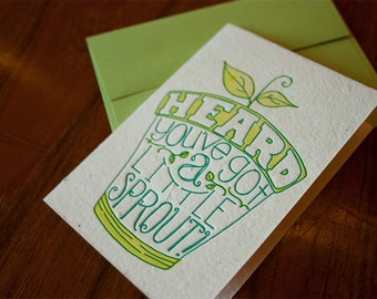 Heard You've Got a Little Sprout  Card (ST087) on Plantable Handmade Paper
