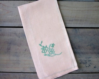 Peach and Mint Green Embroidered Linen Fingertip Tea Towel
