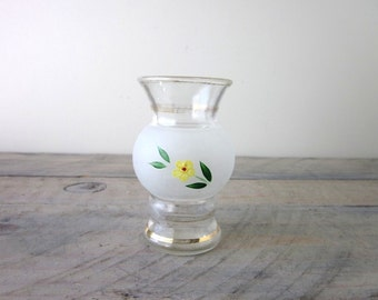 Small Hand Painted Frosted Glass Vase with Yellow Flower and Gold Trim