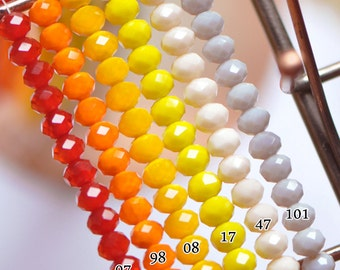 Crystal Glass Rondelle Faceted beads 6x8mm,  You Choose Color -(BZ-08MIX1)/ 1 Full strand