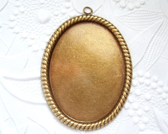 Antique brass 40x30mm rope edge setting - RB133