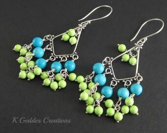 Turquoise Chandelier Earrings Sterling Silver Sky Blue Lime Green Gemstone Earrings