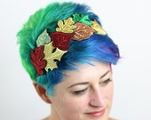 Autumn Leaves Headband, Metallic Embroidery, Gold, Red, Green and Copper