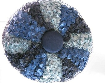 Hat, 1960's, dreamy blue pillbox,swirls of color in shades of blue, Jackie O, Mad Men, ready for a summer wedding